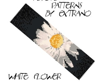 Peyote Bracelet Patterns by Extrano - WHITE FLOWER - 8 colors ONLY - Instant download