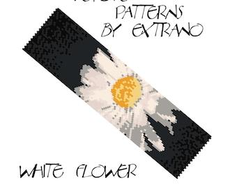 Peyote bracelet pattern, wide cuff pattern, even peyote stitch, peyote pattern, DIY jewelry - WHITE FLOWER - 8 colors only, Instant download