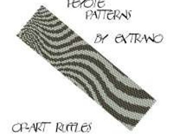 Peyote bracelet pattern, wide cuff pattern, even peyote stitch, peyote pattern, DIY jewelry - OpArt RUFFLES - 2 colors - Instant download