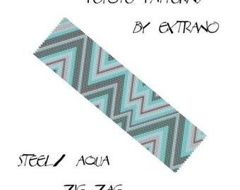 Peyote Bracelet Patterns by Extrano - Steel / Aqua Zig Zag