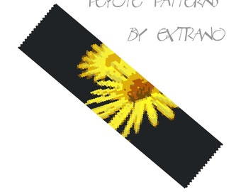 Peyote Bracelet Patterns by Extrano - YELLOW FLOWERS - 8 colors ONLY - Instant download