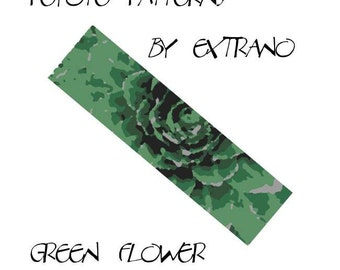 Peyote Bracelet Pattern by Extrano -  GREEN FLOWER - 5 colors ONLY - Instant download