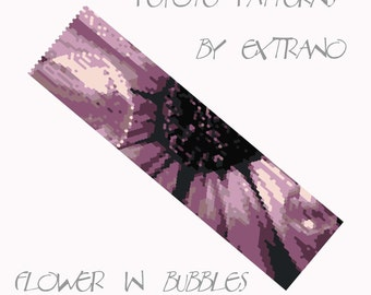 Peyote Bracelet Pattern by Extrano -  FLOWER in BUBBLES - 8 colors ONLY - instant download