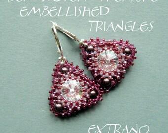 TUTORIAL - earrings - EMBELLISHED TRIANGLES - immediate download