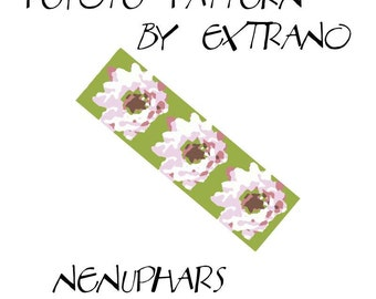 Peyote Bracelet Pattern by Extrano -  NENUPHARS - 5 colors ONLY - Instant download