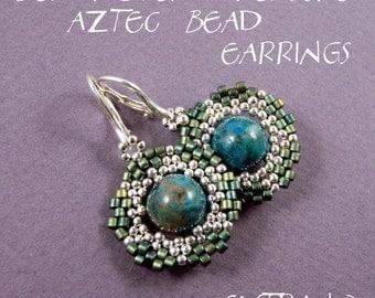 Peyote earrings tutorial, beaded earrings tutorial, seed beads earrings, frame for bead, earrings pattern, round earrings - AZTEC BEAD