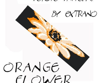 Peyote Bracelet Patterns by Extrano - ORANGE FLOWER - 5 colors ONLY - Instant download