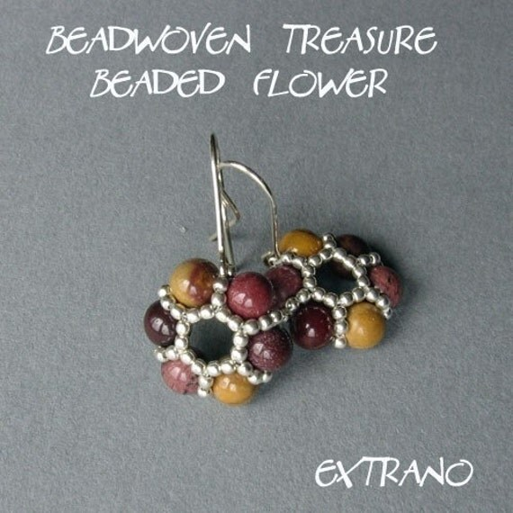TUTORIAL - earrings - BEADED FLOWER - immediate download