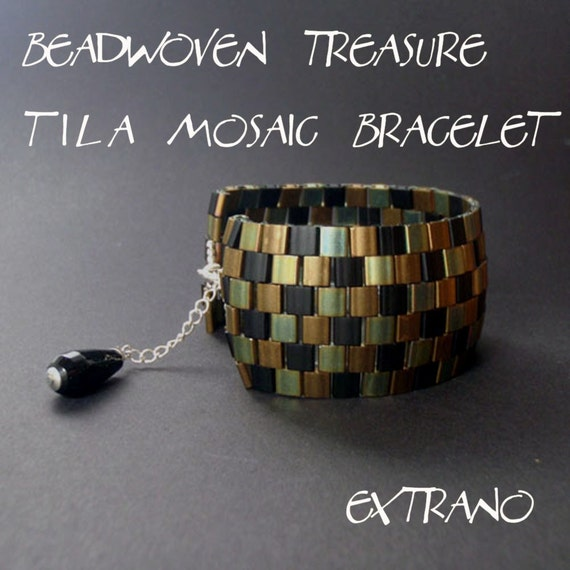 TUTORIAL - Beadwoven Treasure - Tila Mosaic Bracelet - immediate download