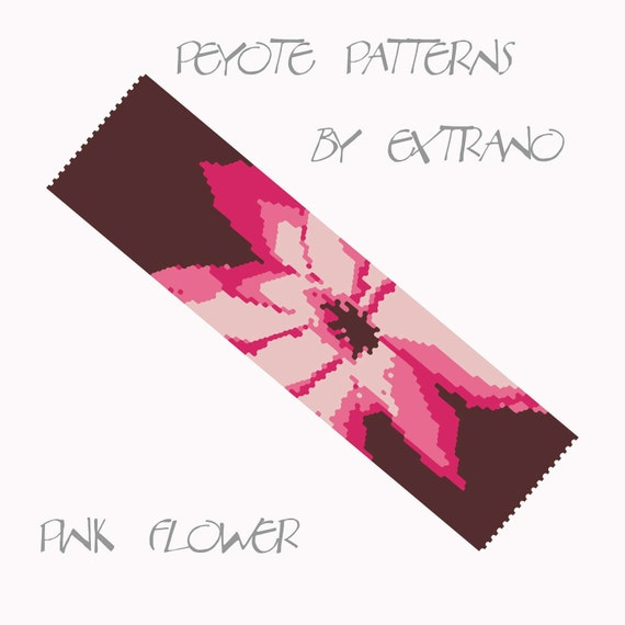Peyote Bracelet Pattern by Extrano - PINK FLOWER - 4 colors ONLY - Instant download