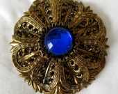 Exquistite  European Brooch 1960's Electric Blue Stone Broach Bling