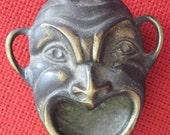 Brass Mask  VintageTrinket Decor Greek Drama