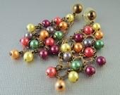 Vintage Chandelier Pearl Colors Earrings