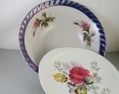Vintage Roses Floral Design Bowl and Plate Japan