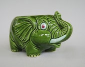 Vintage Ceramic Elephant Planter Green Japan