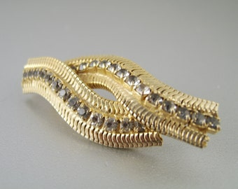 Vintage Rhinestone Brooch Pin Gold Zipper
