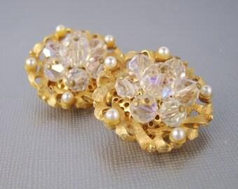 Vintage Crystal Earrings Gold Pearls Clip On