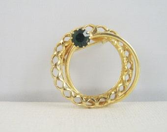 Vintage Emerald Rhinestone Brooch Circle Pin