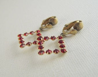 Vintage Ruby Rhinestone Earrings Red Dangles