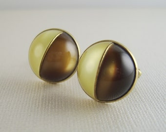 Vintage Celluloid Cuff Links Mid Century Brown Yellow