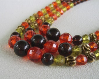 Vintage Triple Bead Strand Necklace Fifties Autumn
