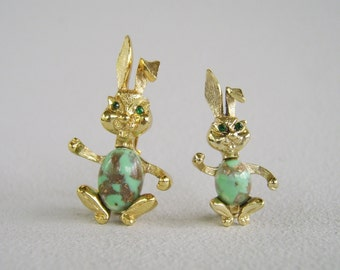 Vintage Aqua Rhinestone Bunny Brooch Pair Set of Two