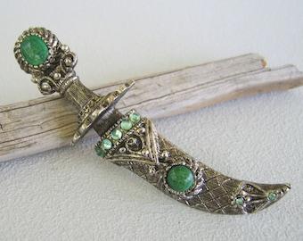 Vintage Knife Sword Pendant Brooch Antique Silver Green