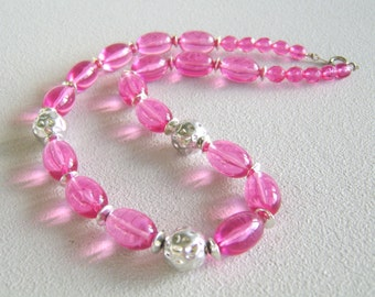 Vintage Pink Lucite Necklace Bead Strand