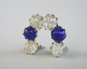 Vintage Cobalt Blue Clear Glass Earrings Silver Fifties