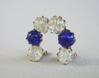 Vintage Cobalt Blue Clear Glass Earrings Silver Fifties