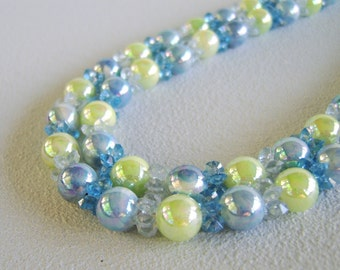 Vintage Blue Lime Double Bead Strand Necklace Adjustable