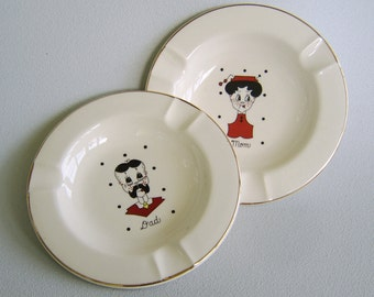 Vintage Dad Mom Ceramic Ashtray Set Trinket Dishes Sica China