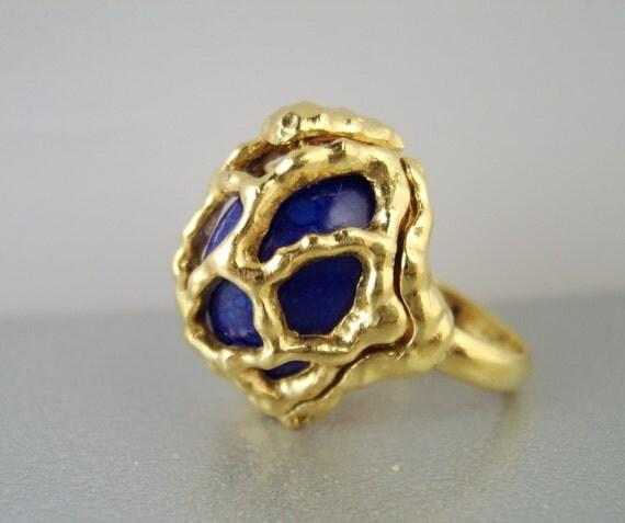 vintage crown trifari ring changeable stones goldtone
