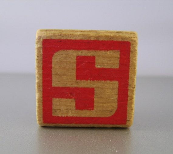 Vintage Wooden Alphabet Building Block Letter S or X