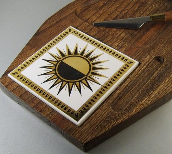 Vintage Mid Century Cutting Board Wood Ceramic Metallic