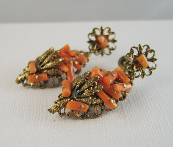 Vintage Coral Earrings Forties Brass Dangles