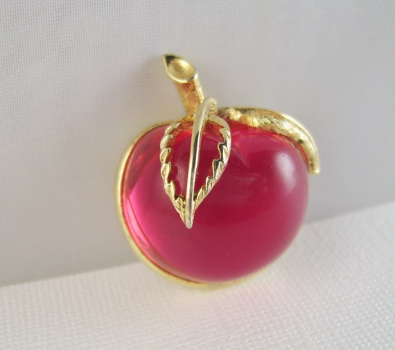 Vintage Lucite Brooch Sarah Coventry Apple Pin