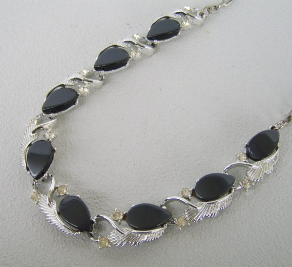 Vintage Coro Necklace Silver Charcoal Thermoset Rhinestones