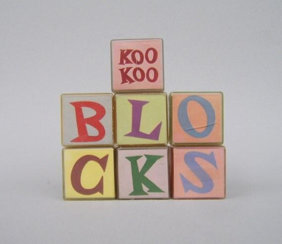 Vintage Animal Blocks Acrylic Koo Koo Building Blocks