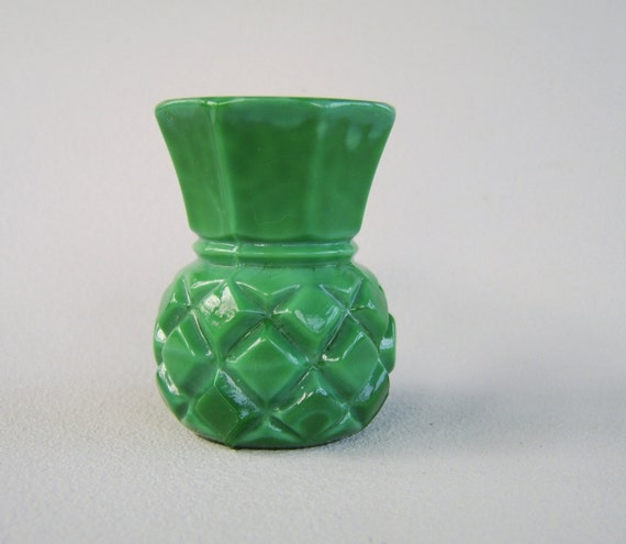 Vintage Carved Glass Vase Green Pineapple Miniature