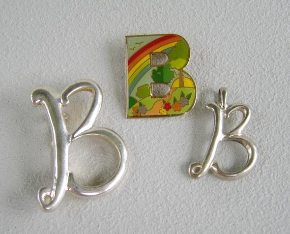 Vintage Monogram Brooch Pin Pendant Lot Letter B
