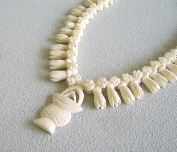 Vintage Carved Bone Necklace Flower Basket