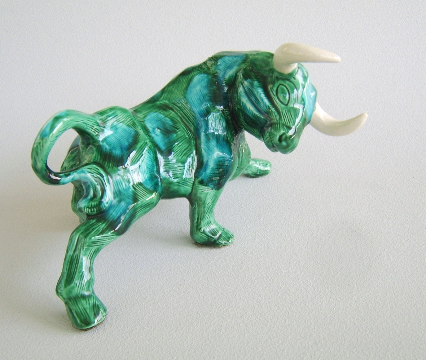 Vintage Ceramic Bull Figurine Inarco Japan Green Aqua