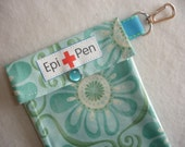 EpiPen Pouch with Clear Pocket and Clip Holds 2 Allergy Pens - 4x8 Azul in Barcelona Fabric