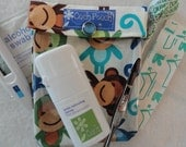 Small Ouch Pouch First Aid Organizer for Diaper Bag Purse Baby's Boo Boo's ( 4x5 Ann Kelle Royal Monkeys Fabric) Baby Shower Gift