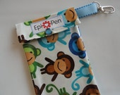 Epi Pen Carrier with Clear Pocket and Clip 4x8 Holds 2 Allergy Auto Injector Pens -  Monkeys in Royal Fabric