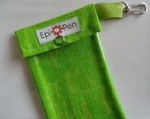 Epi Pen Case Clear Pocket with Metal Clip 4x8 Holds 2 Allergy Auto Injector Pens -  Neon Green Plaid Fabric