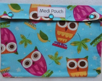 XL Medi - Pouch Clear Travel Organizer for First Aid Medications Inhaler Special Needs Diapers School Supplies (7x9 Aqua Owls Fabric)