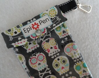 Epi Pen Pouch with Clear Pocket and Clip 4x8 Holds 2 Allergy Injector Pens - Michael Miller Bonehead Fabric