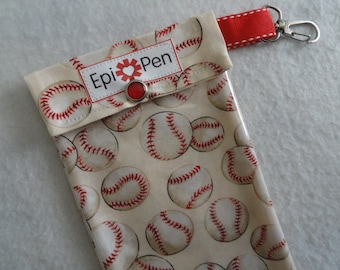 Epi Pen Pouch with Clear Pocket and Clip Holds 2 Allergy Pens - 4x8 Baseballs on Cream Fabric Readers Choice Finalist